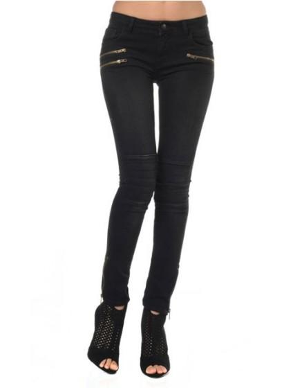 Reiko skinny black zips