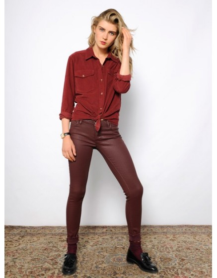 Pantalon skinny enduit Nelly - WINE