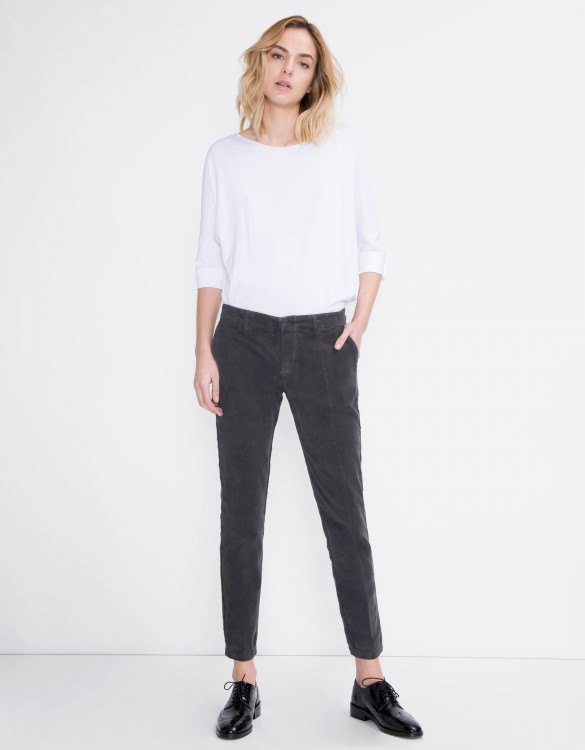 Velvet cigarette Trousers Lizzy - CARBONE