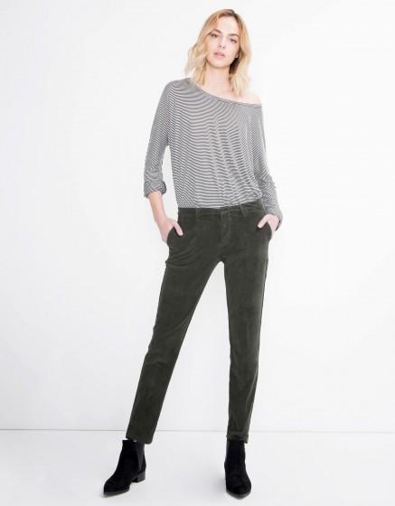 Velvet cigarette Trousers Lizzy - VERT BOUTEILLE