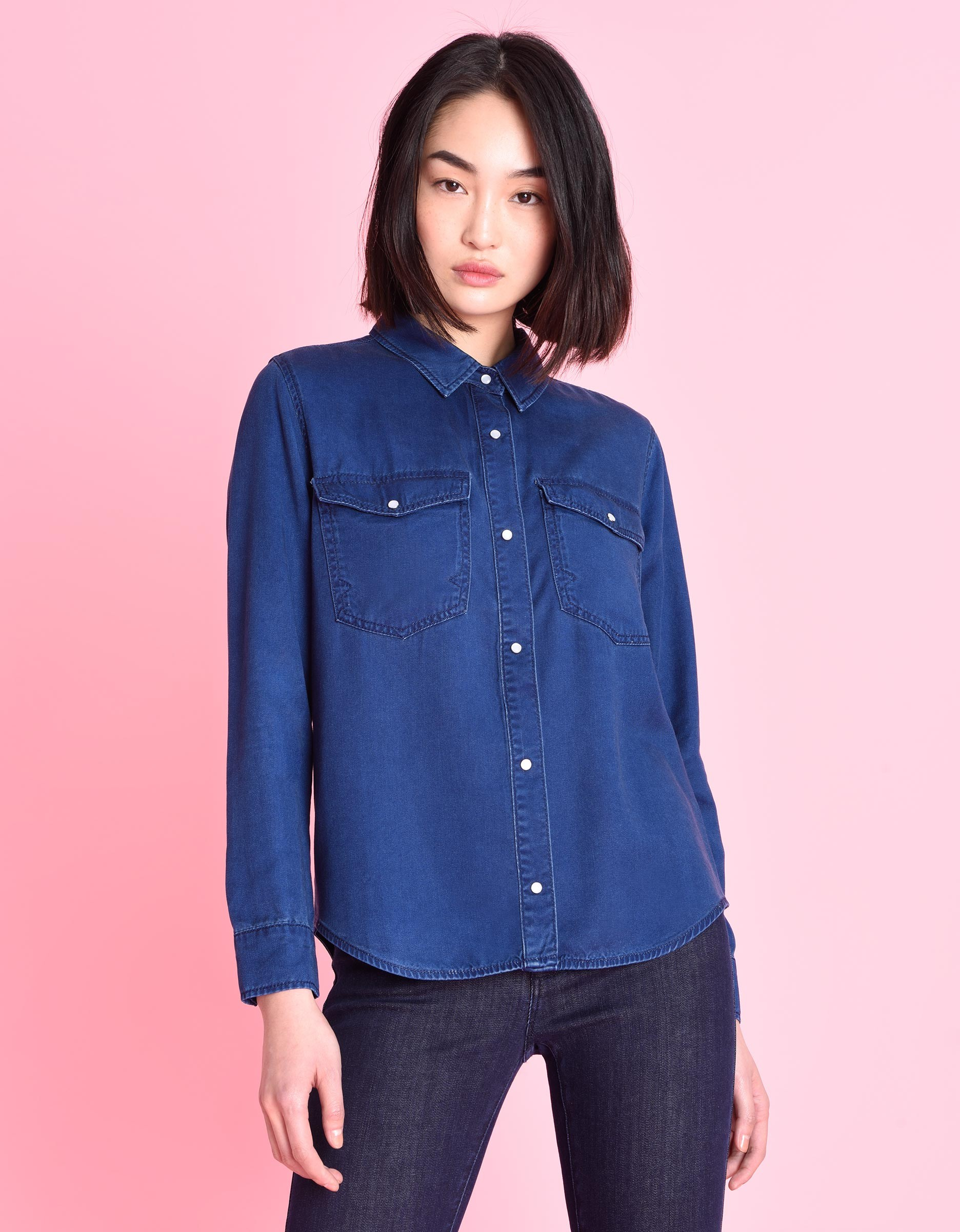 Fluid indigo denim shirt for women conrad reiko for Indigo denim shirt womens