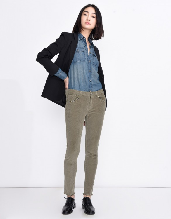 Pantalon skinny cropped velours Liam - VINTAGE KAKI