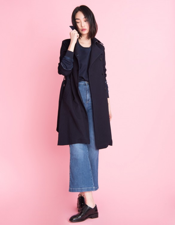Denim trench coat Thomson Fleece - INDIGO