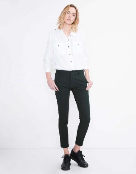 Cigarette Trousers Lizzy Color - VERT BOUTEILLE