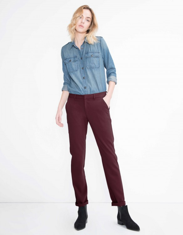 Chino Trousers Sandy Flow - BORDEAUX FONCE
