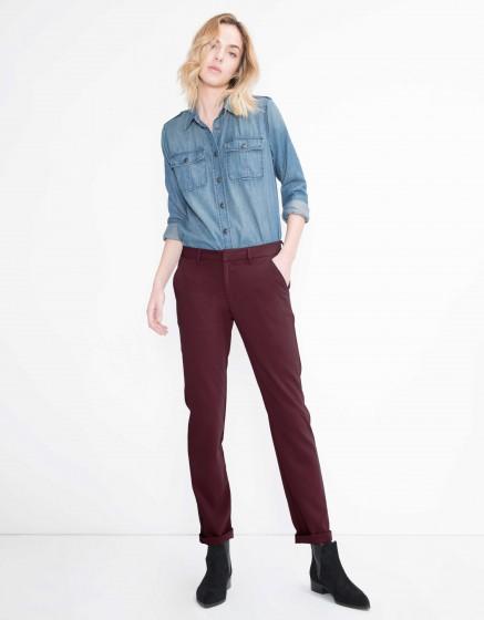 Pantalon chino Sandy Fluide - BORDEAUX FONCE