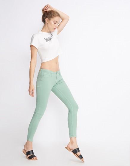 Pantalon skinny cropped Lily Color - VERT JADE
