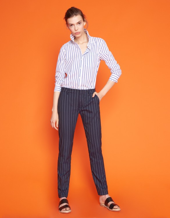 Cigarette Trousers Lizzy Fancy - STRIPES NAVY