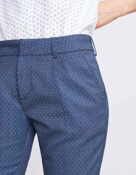 Cigarette Trousers Larson Fancy - DOTS WHITE