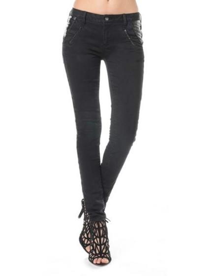 Skinny poches simili cuir