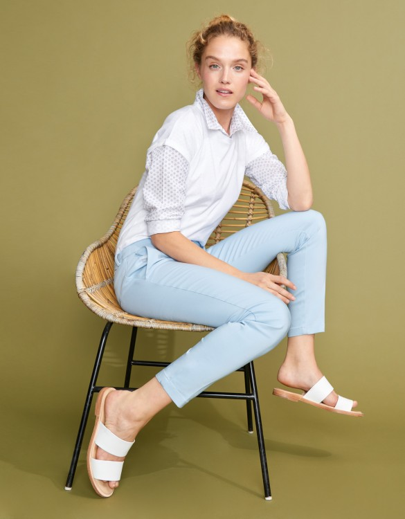 Pantalon Cigarette Lizzy Color - LIGHT BLUE