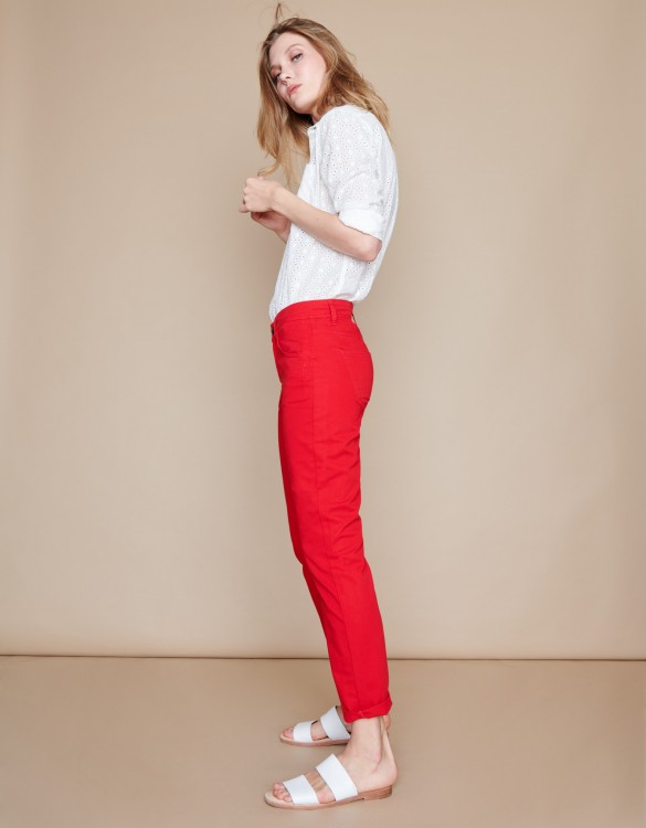 Pantalon boyfriend Nina Color - VERMILLON