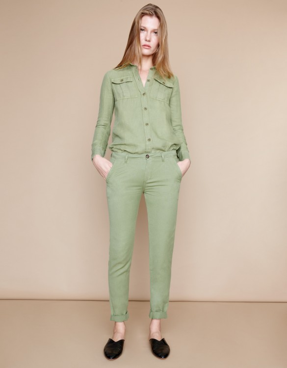 Chino trousers Pam Linen - MILITARY GREEN