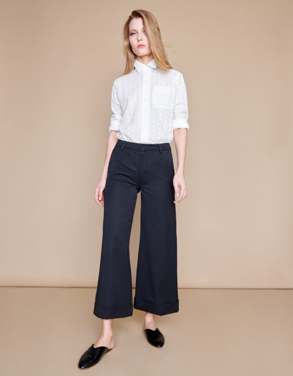 Wide cropped trousers Paolo - STATES BLACK