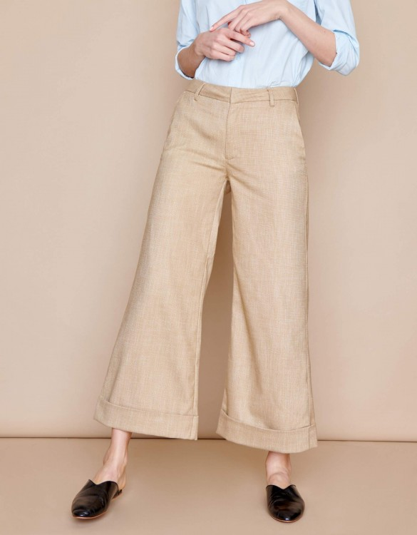 Pantalon wide cropped Paolo - VINTAGE OCRE