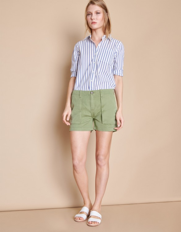 Bermuda Shelby Linen - MILITARY GREEN