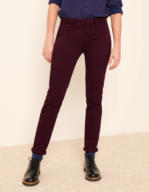 Pantalon chino Sandy 2 Basic - LIE DE VIN