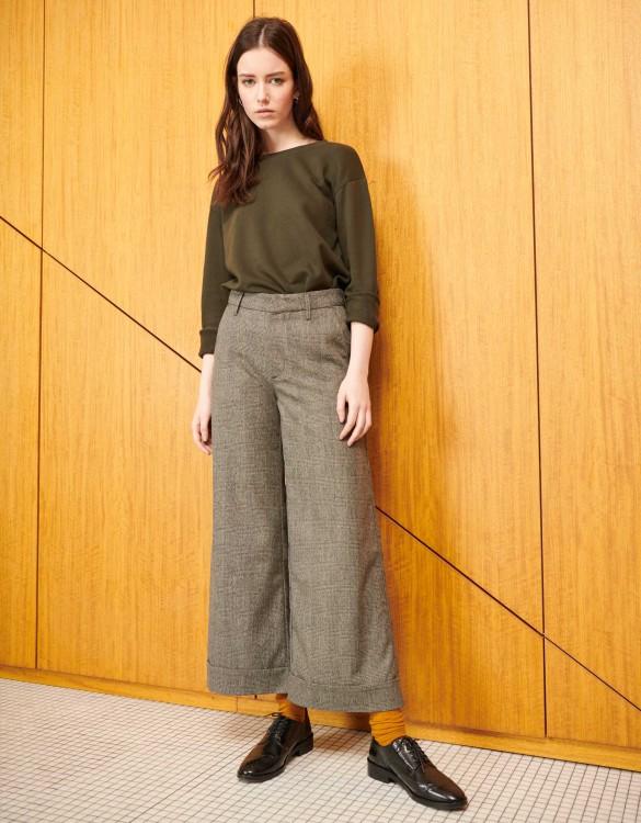 Wide cropped trousers Paolo Fancy - BLACK TARTAN