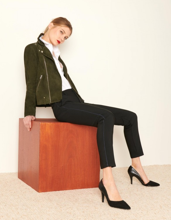 Cigarette Trousers Lizzy Color - BLACK PIPING