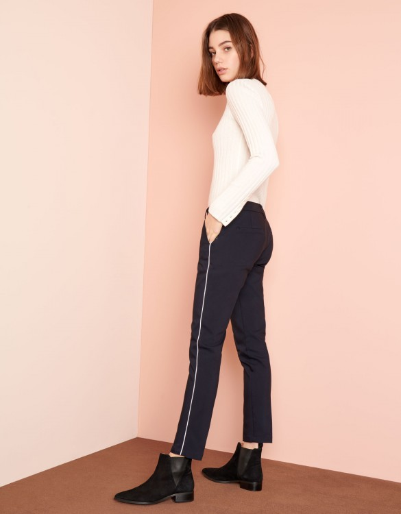 Cigarette Trousers Lizzy Color - NAVY PIPING