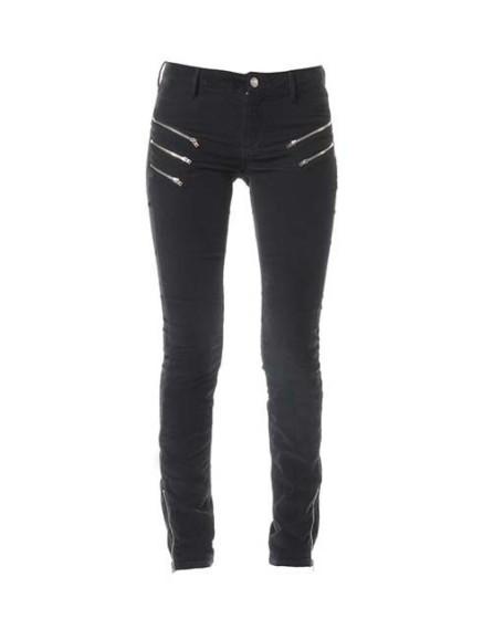 Skinny velours zips