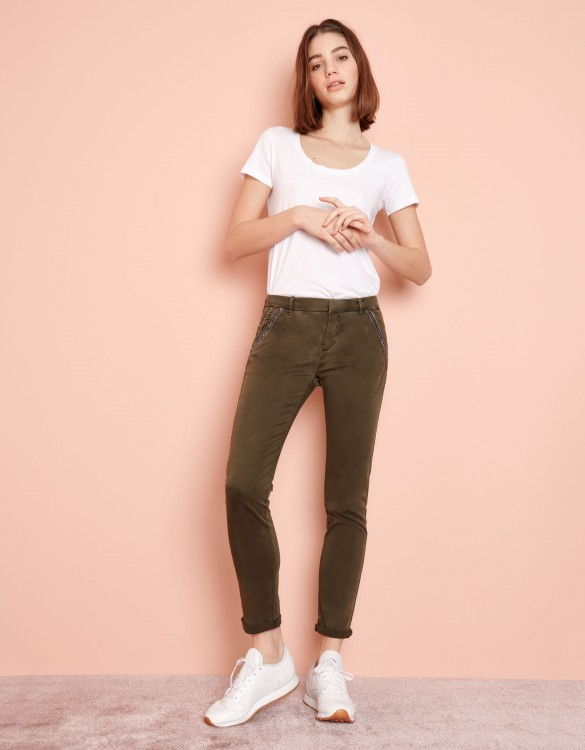 Chino Trousers Sandy Ribbon - DARK KAKI