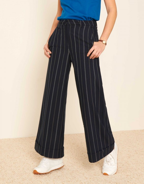 Pantalon wide cropped Paolo Fancy - NAVY STRIPED