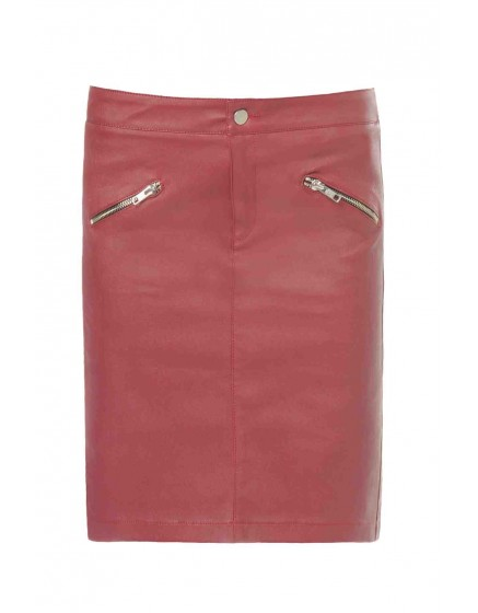 REIKO Jaya leather skirt - GRENAT