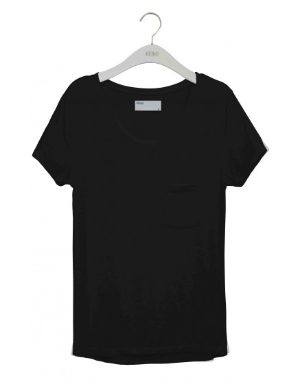 REIKO Bardot plain T-shirt - BLACK