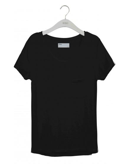 REIKO T-shirt uni Bardot - BLACK