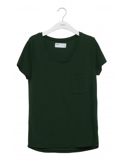 REIKO T-shirt uni Bardot - EPINARD