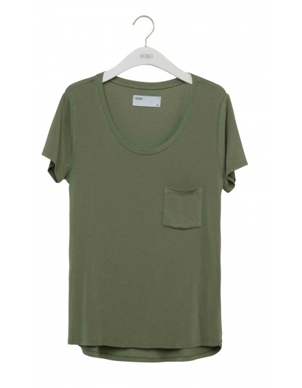 REIKO T-shirt uni Bardot - JADE