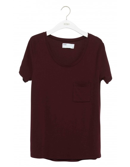 REIKO T-shirt uni Bardot - PRUNE