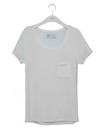 REIKO T-shirt uni Bardot - WHITE