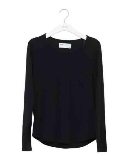 REIKO Bahia plain T-shirt - BLACK