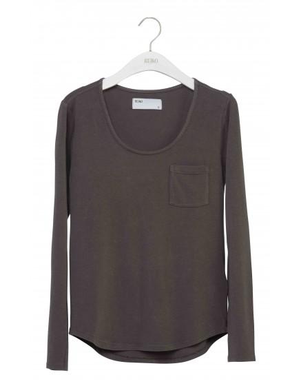 REIKO Bahia plain T-shirt - TITANE