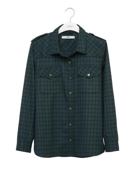 REIKO Claryss Shirt - carreaux epinard