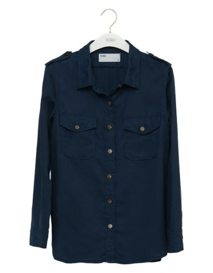 REIKO Claryss Color loose Shirt - NAVY