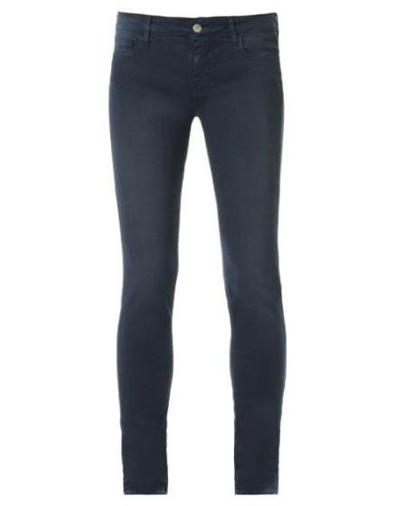 REIKO Pantalon slim couleur Tero - NAVY