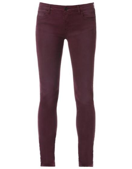 REIKO Pantalon slim couleur Tero - PRUNE