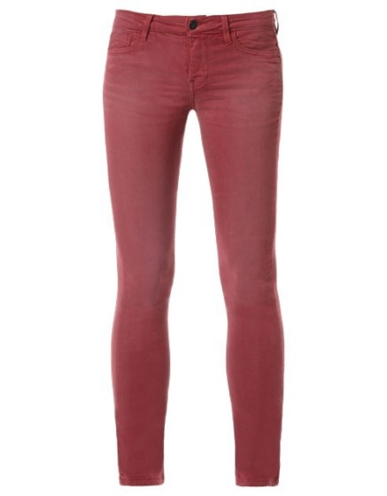 REIKO Pantalon skinny couleur Noémie - GRENAT