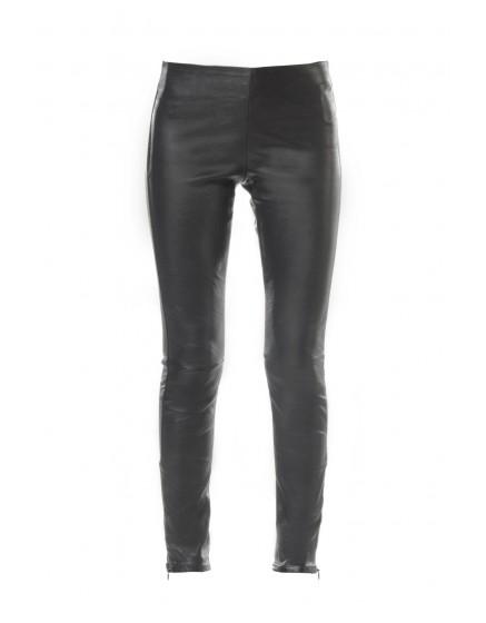 REIKO Legging en cuir Naya Zip - BLACK
