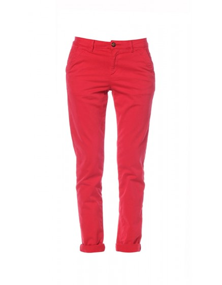 Chino coton peau de pêche - RUBY-RED-PAT-