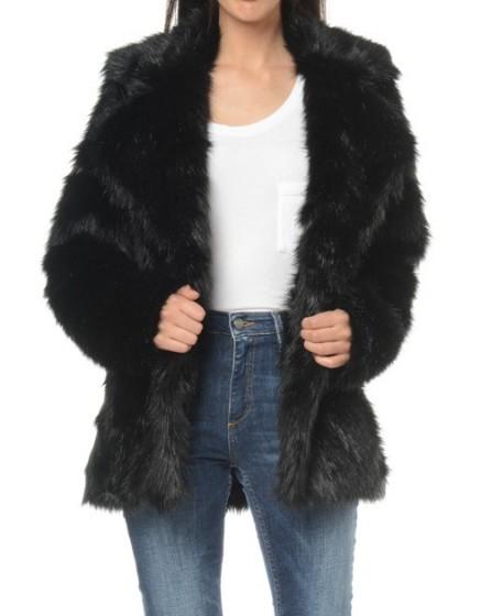 REIKO Valia black fake fur Coat