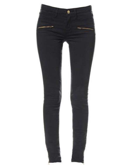 skinny zipped colored Reiko  - BLACK