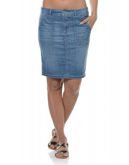 July straight denim skirt