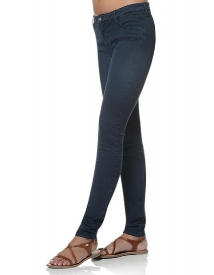 Colored slim trousers Tero - navy