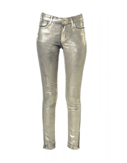 Alanis Mettalised skinny Trousers - gold