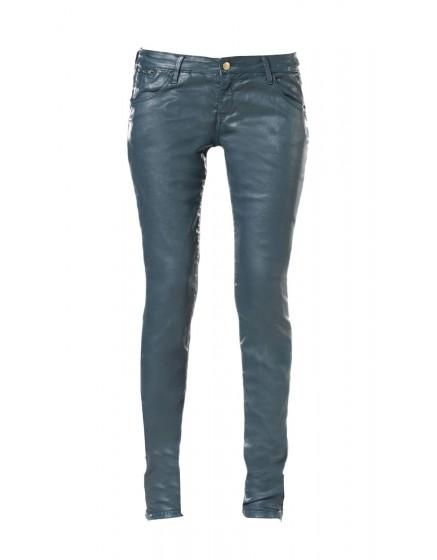 Skinny leather coating effect - cristal-blue