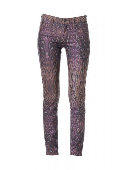 Pantalon skinny imprimé plumes Courtney - BOURGOGNE-